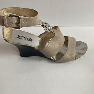Michael Kors beige leather wedge sandals